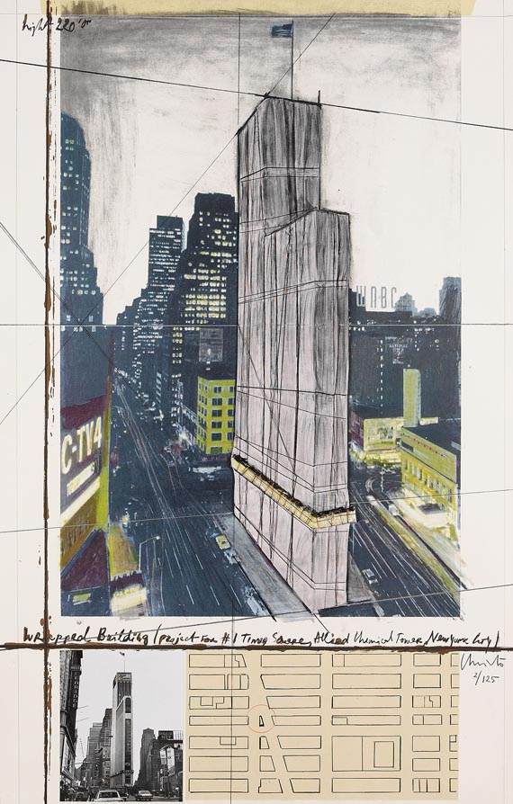 Christo - Wrapped Building (Project for # 1 Times Square Allied Chemical Tower, New York)