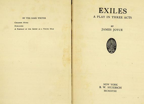 James Joyce - Exices, Chamber Music, 2 Bde. 1918. (57)