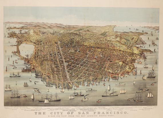 Amerika - The city of San Francisco. Birds eye view from the bay looking south-west.