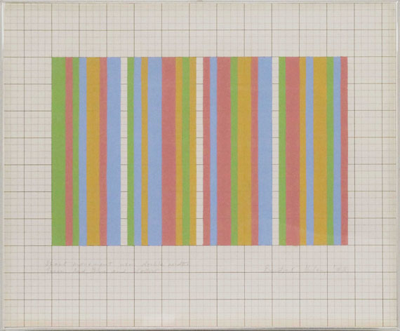 Bridget Riley - Short movement using double widths green, red, blue and yellow - Frame image
