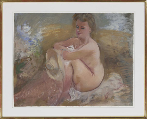 George Grosz - Sitting Nude with Summer Hat - Frame image